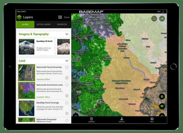 BaseMap Hunting and Fishing GPS Maps - Land Ownership